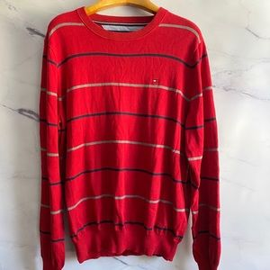 Tommy Hilfiger Red Striped Sweater LARGE
